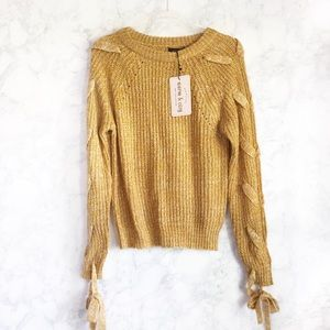 NWT mustard lace up sleeve sweater small